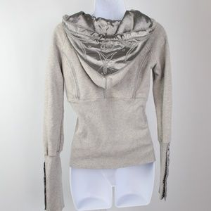 Free People Jackets & Coats - Free People gray satin full zip hoodie jacket